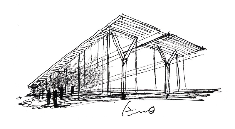 Sketch Of The Modern By Tadao Ando Art Museum Fort Worth