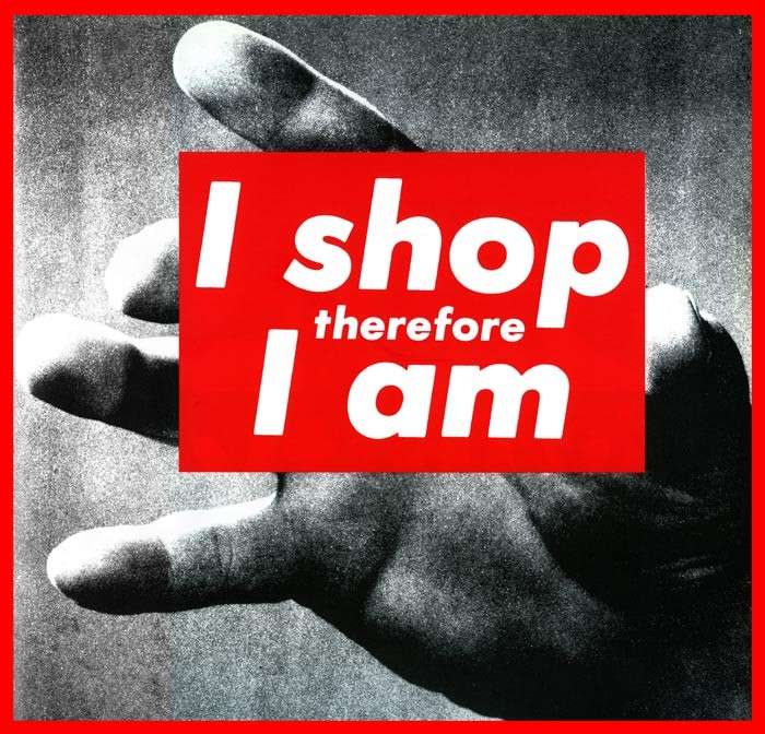 Barbara Kruger, Untitled (I shop therefore I am), 1987. Photographic silkscreen on vinyl. 111 5/8 x 113 1/4 x 2 1/2 inches. Glenstone. © Barbara Kruger. Photograph by Tim Nighswander