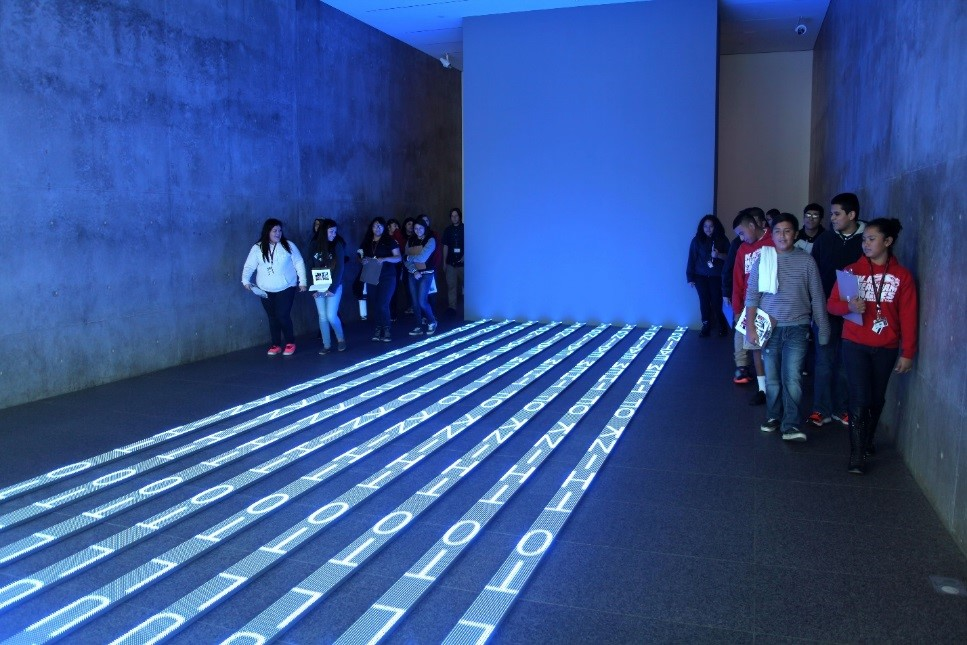 Jenny Holzer, Kind of Blue, 2012 (installation view). 9 LED signs with blue diodes. 9/10 x 120 x 576 inches. Collection of the Modern Art Museum of Fort Worth, Museum purchase. © Jenny Holzer/member Artists Rights Society (ARS), New York