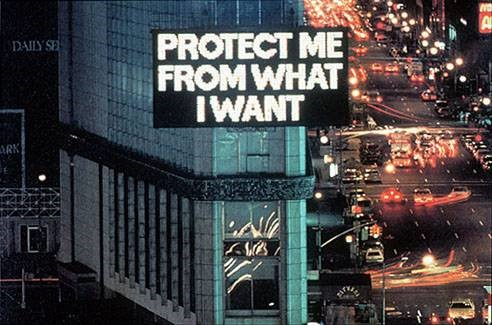 Jenny Holzer, from Survival (1983-85). Electronic sign. 20 x 40 feet. Installation: Selection from the Survival Series, Times Square, New York, 1985. © 2014 Jenny Holzer, member Artists Rights Society (ARS), New York. Photograph by John Marchael