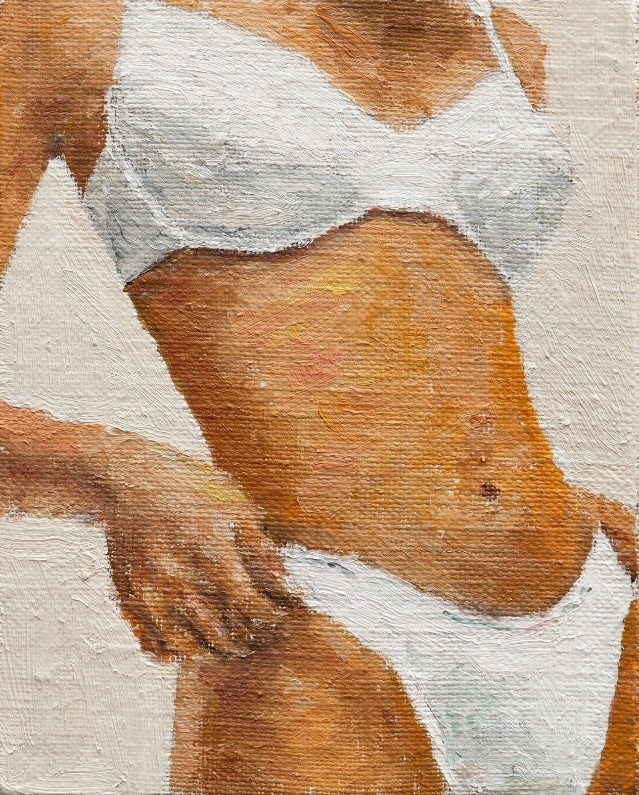 Michell Rawlings, _model.jpeg, 2014. Oil on linen mounted on board. 5 x 4 inches