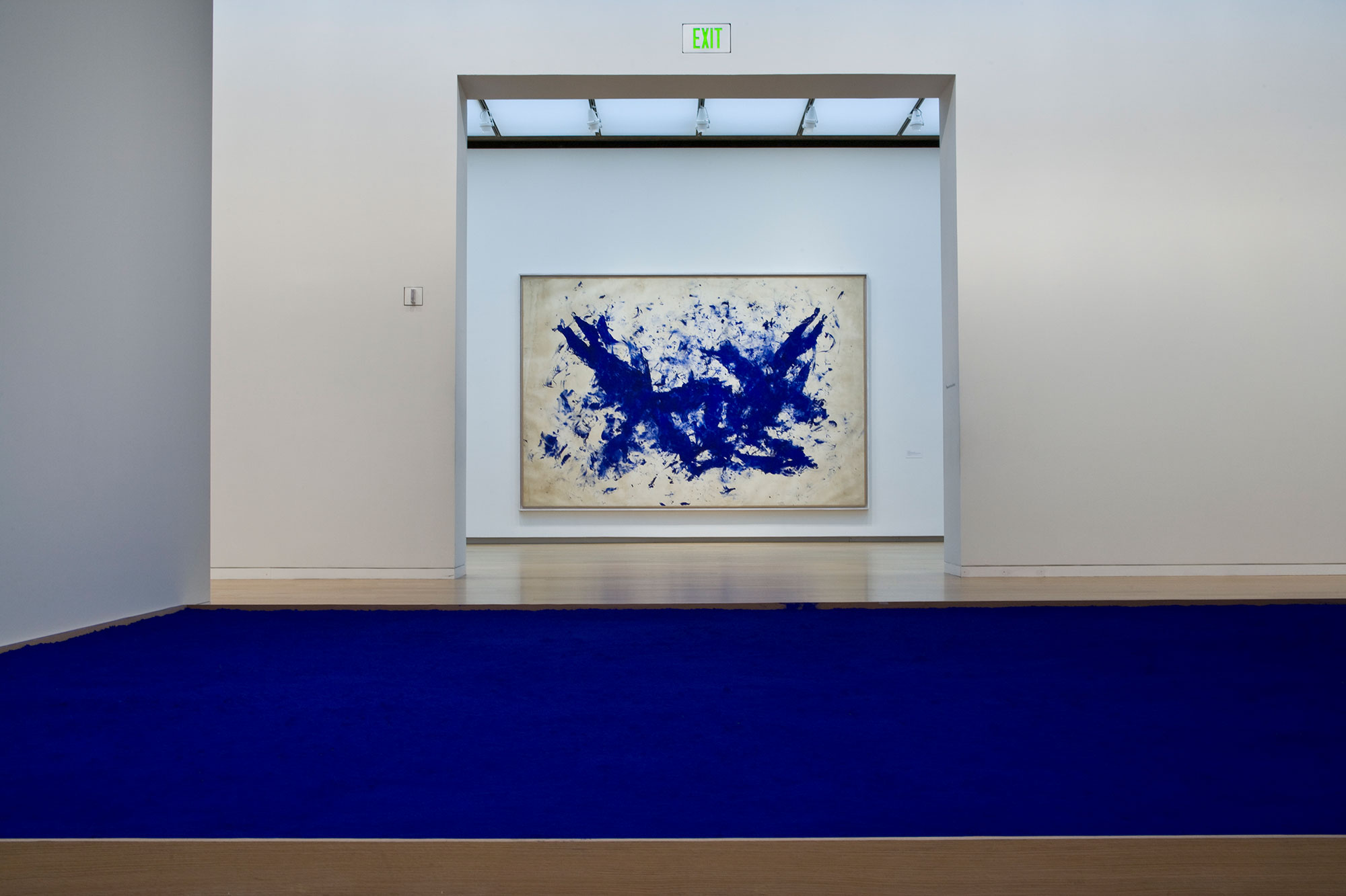 Installation view of Yves Klein works