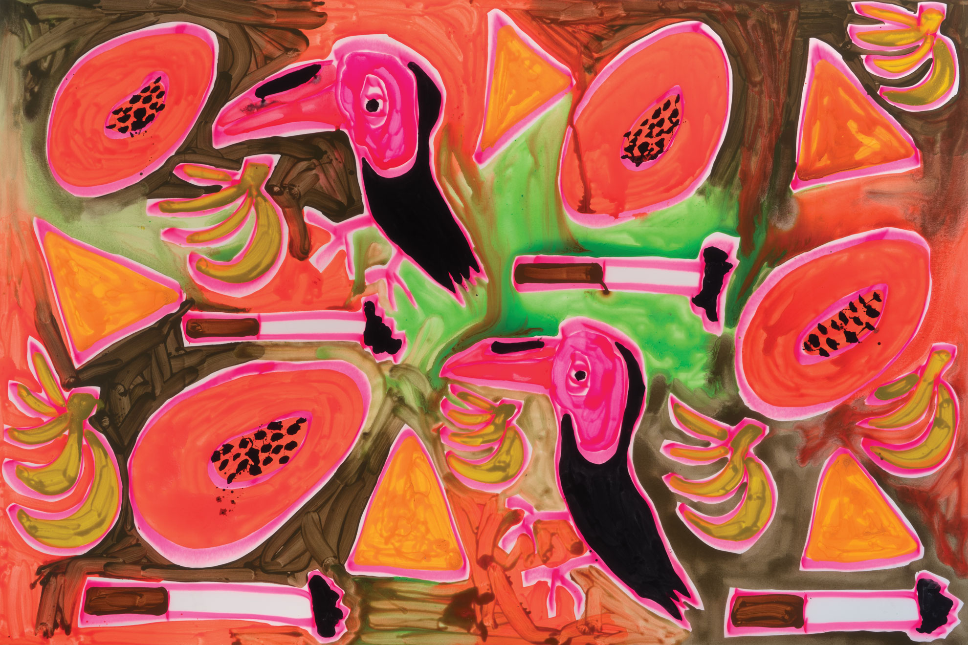 Katherine Bernhardt, Jungle Snack, (Orange and Green), 2017.