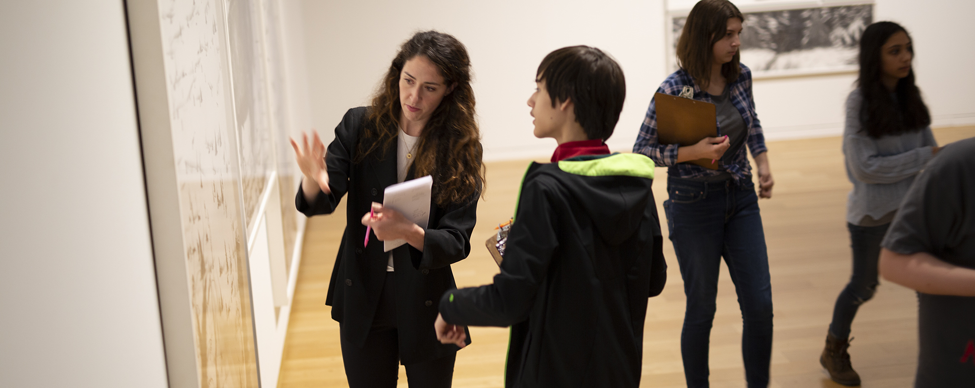 Student and teacher in the galleries