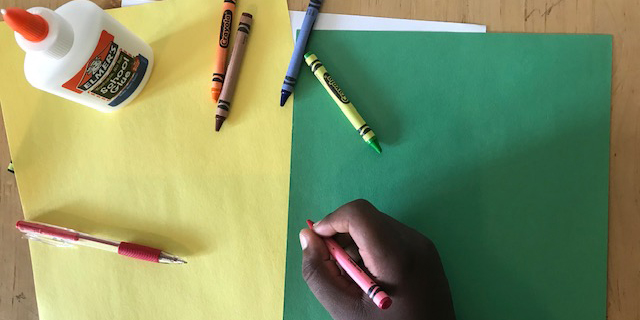 Drawing from the Collection for Children - Crayons, Glue, and Paper