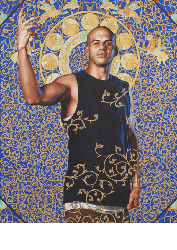 Oil and gold enamel on canvas. 95.75 x 71.75 inches. Collection of Blake Byrne, Los Angeles. Courtesy of Roberts & Tilton, Culver City, California. © Kehinde Wiley.  Image copyright: Robert Wedemeyer, courtesy of Roberts & Tilton