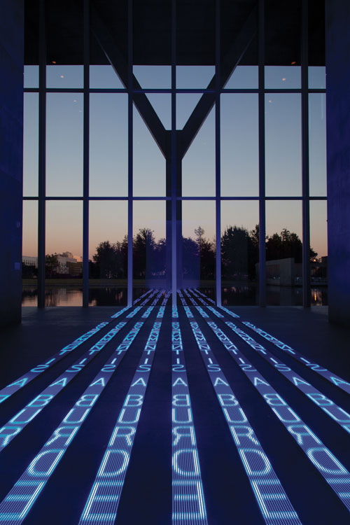 Jenny Holzer, Kind of Blue, 2012. 9 LED signs with blue diodes, .9 x 120 x 576 inches. Modern Art Museum of Fort Worth. © 2012 Jenny Holzer, member Artists Rights Society (ARS), NY. Photo: Paul Kamuf.