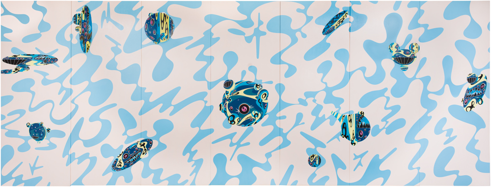 Acrylic on canvas 94 1/2 x 248 in. (240 x 630 cm) Julie and Larry Bernstein © 1999 Takashi Murakami/Kaikai Kiki Co., Ltd. All Rights Reserved. Photo: Nathan Keay