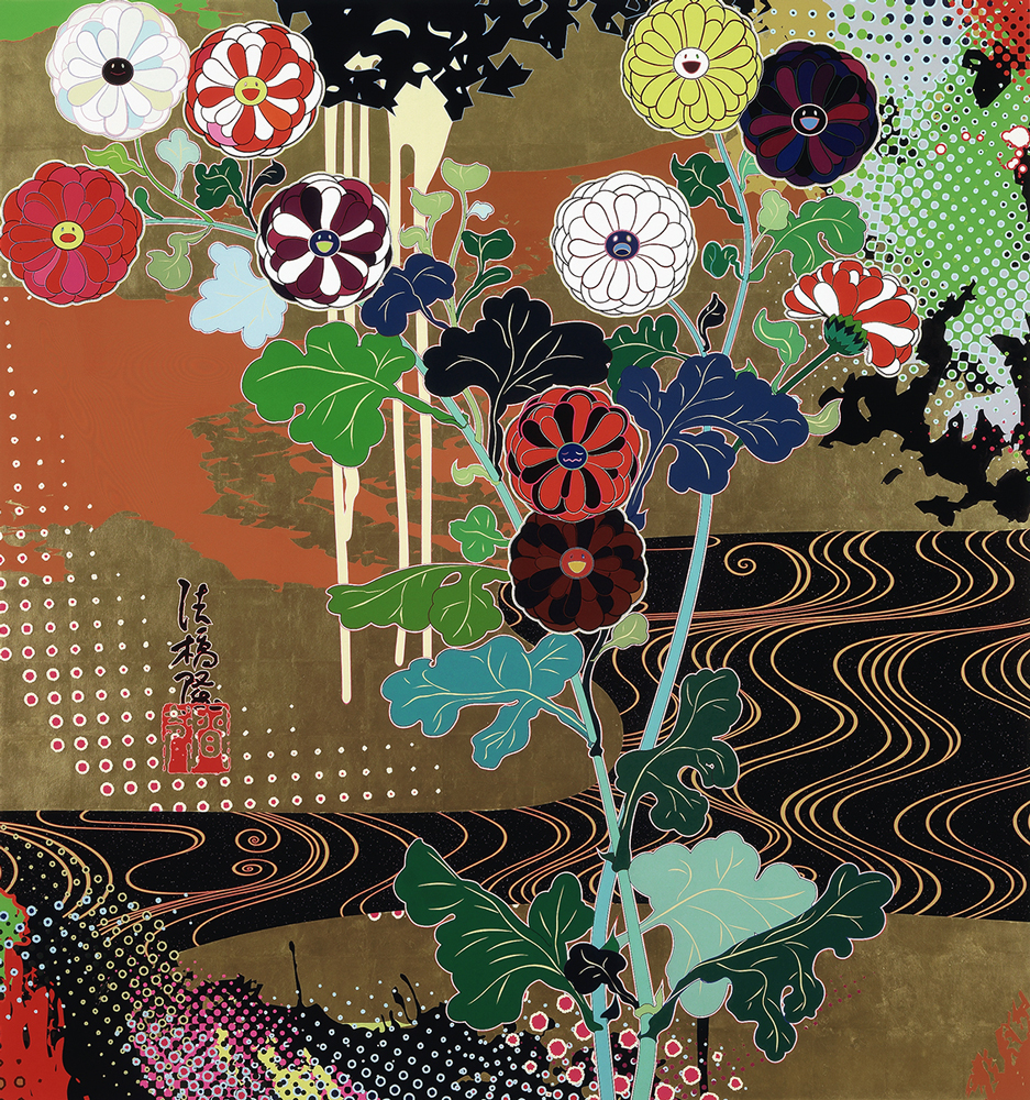Acrylic and gold leaf on canvas 63 x 59 1/2 in. (160 x 151.1 cm) Private Collection © 2008 Takashi Murakami/Kaikai Kiki Co., Ltd. All Rights Reserved. Photo: Joshua White/JWPictures.com, courtesy of the artist and Blum & Poe, Los Angeles/New York/Tokyo