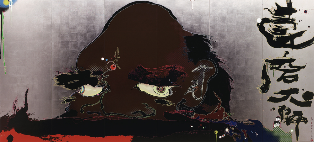 Acrylic and platinum leaf on canvas mounted on wood panel 63 x 138 in. (160.1 x 351 cm) Private Collection © 2008 Takashi Murakami/Kaikai Kiki Co., Ltd. All Rights Reserved. Photo: Courtesy of the artist and Blum & Poe, Los Angeles/New York/Tokyo