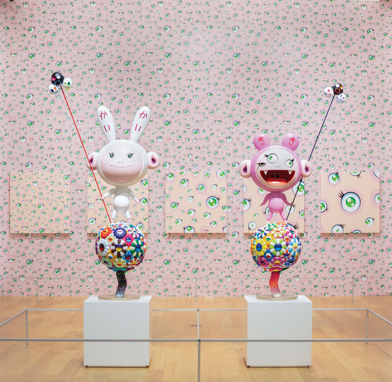 Installation view, Takashi Murakami: The Octopus Eats its Own Leg, Modern Art Museum of Fort Worth, June 10 – September 16, 2018. © Modern Art Museum of Fort Worth