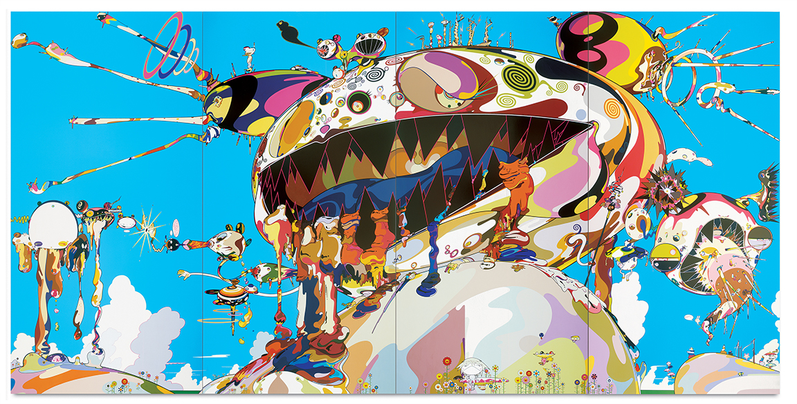 Acrylic on canvas mounted on board 141 ¾ x 283 ½ x 3 in. (360 x 720 x 7.7 cm) Private collection, courtesy of Galerie Perrotin. © 2002 Takashi Murakami/Kaikai Kiki Co., Ltd. All Rights Reserved. Photo: Adam Reich
