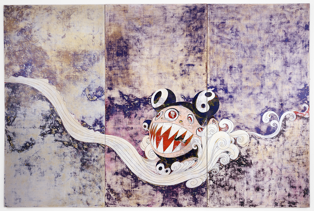 Acrylic on canvas mounted on board 118 x 177 x 2 ¾ in. (300 x 450 x 7 cm) The Museum of Modern Art, New York. Gift of David Teiger, 2003, 251.2003.a-c © 1996 Takashi Murakami/Kaikai Kiki Co., Ltd. All Rights Reserved. Photo: Tom Powell Imaging