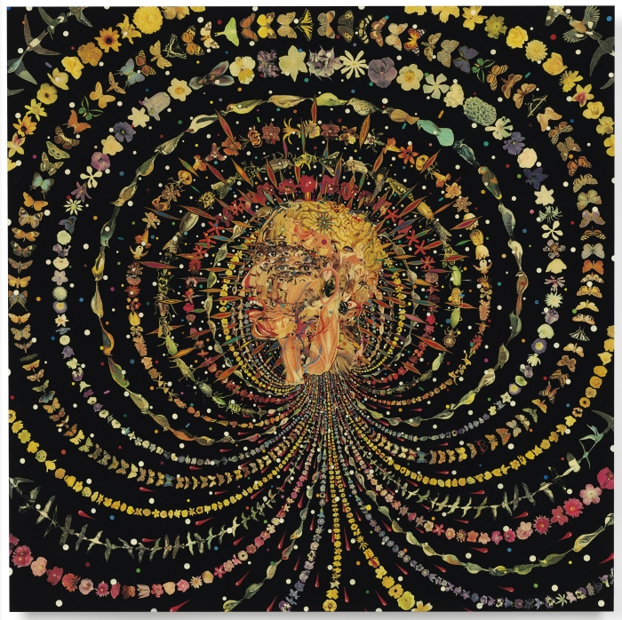 Fred Tomaselli, Breathing Head, 2002. Leaves, photocollage, acrylic, gouache, and resin on wood panel. Gospel of Thomas © Fred Tomaselli
