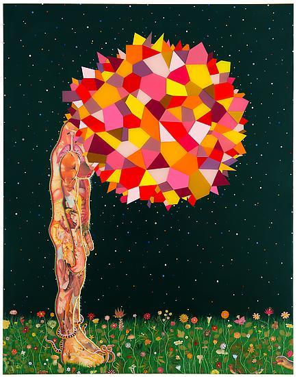 Fred Tomaselli, Study for Head, 2013. Photocollage, leaves, acrylic, and resin on wood panel. Courtesy the artist and James Cohan Gallery, New York/Shanghai © Fred Tomaselli
